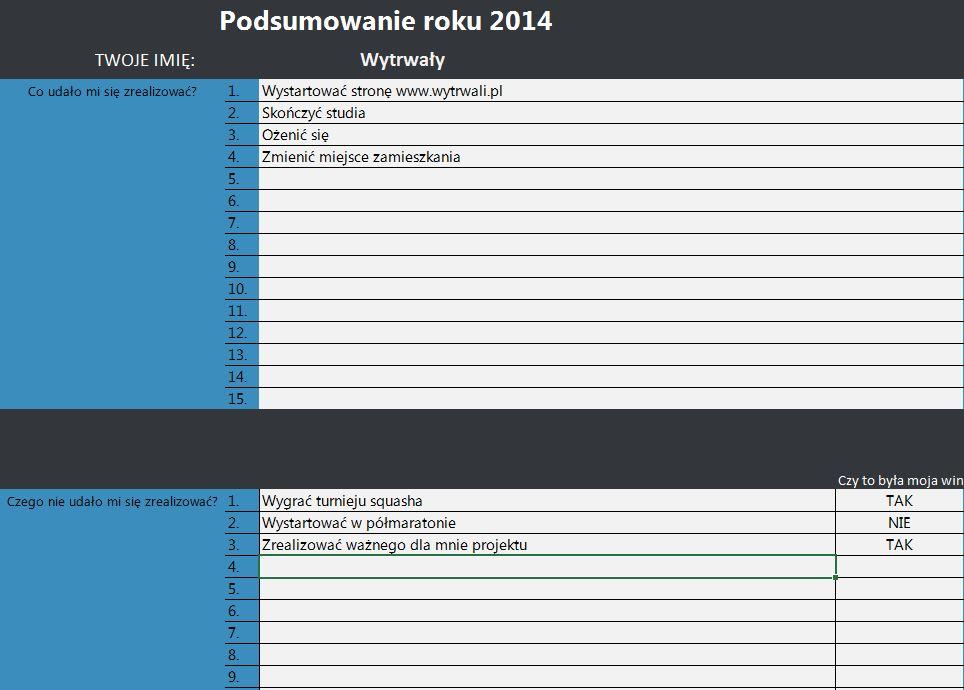 Jak zaplanować cele na nowy rok? - Excel